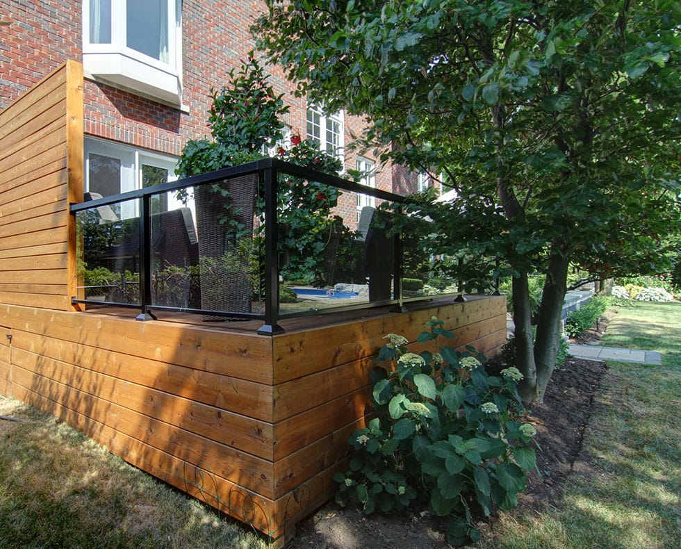 Elevated Deck With Glass Railings